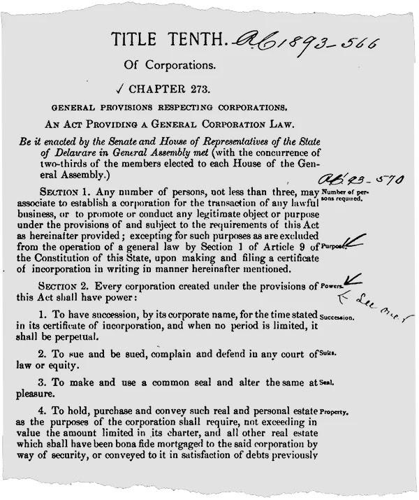Bản sao Luật Công ty của Delaware năm 1899 (Đại học Widener, Trường Luật Delaware)