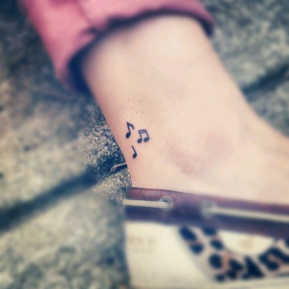 Cute Music Note Tattoo For Women