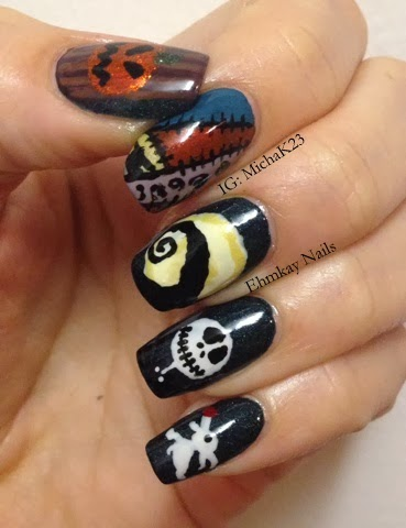 nightmare before christmas inspired nail art