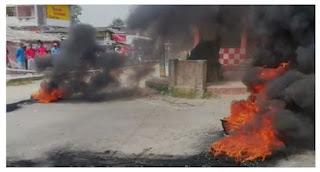 सीएसपी संचालक की हत्या पर फूटा आक्रोश, सड़क पर आगजनी