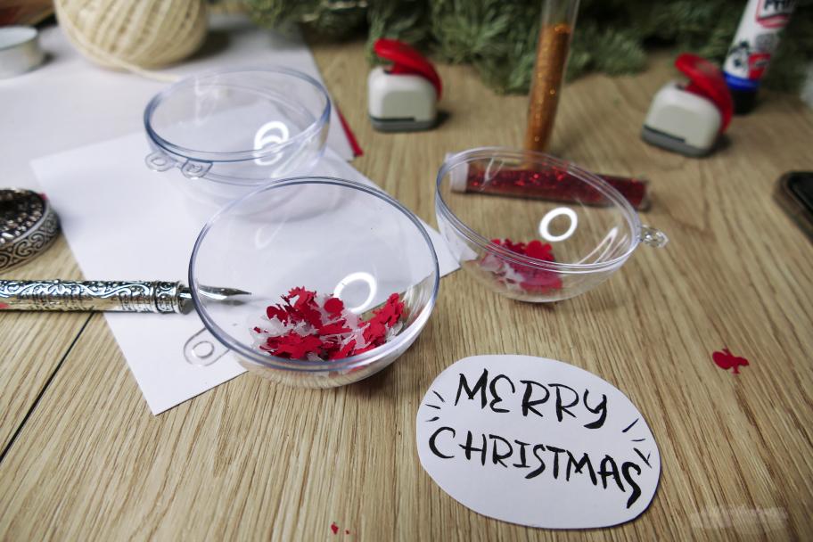 Einzigartige Christbaumkugel Merry Christmas Anleitung