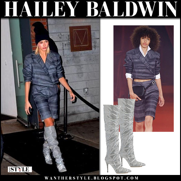 Hailey Baldwin in grey striped jacket off-white and shorts with silver boots jimmy choo new york fashion week outfit 2018