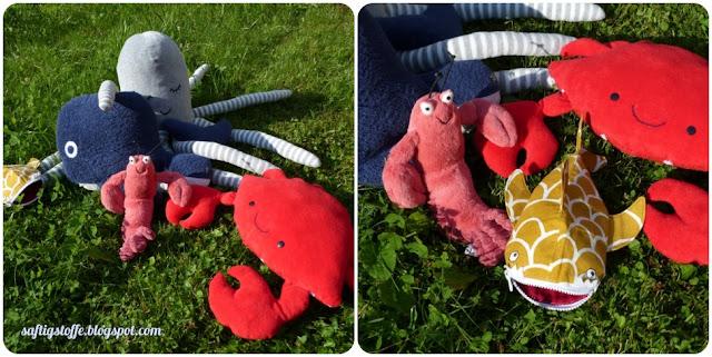 Octopus, Ambazambawalhai, Hummer, Walfisch und Krabbe aus Stoff genäht