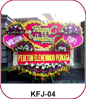 Bunga Papan Happy Wedding di Utan Kayu Selatan