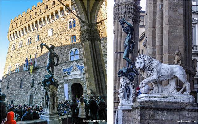 """Escultura """"Perseu e a Cabeça da Medusa"""" na Loggia dei Lanzi, em Florença"""