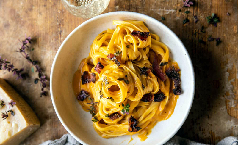 Butternut Squash Pasta Carbonara with Rosemary Bacon