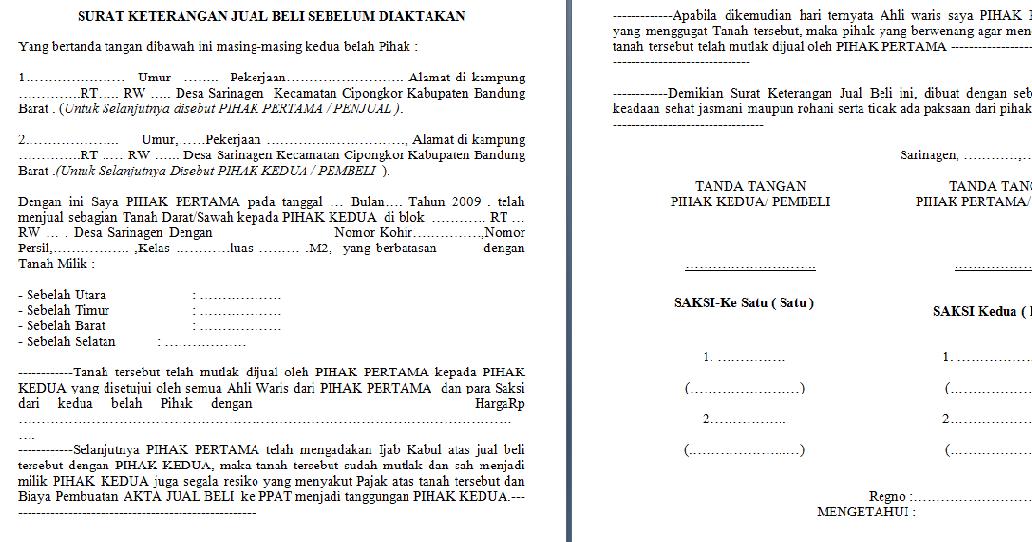 Agen Property: Contoh Format Surat Jual Beli Tanah Sebelum ...