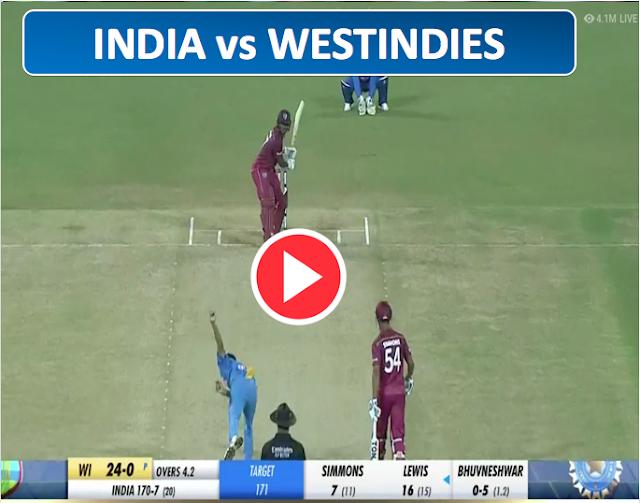 India vs West Indies, 2nd T20I - Live Cricket,  India scored 170/7.
