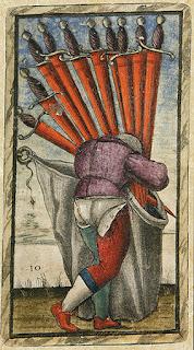 Ten of Swords, Sola Busca Tarot, Public Domain.