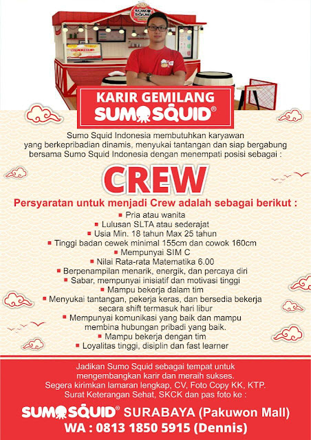 Lowongan Kerja Crew di Sumo Squid Surabaya