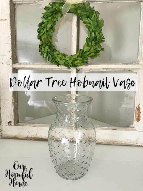 Dollar Tree glass hobnail vase vintage decor