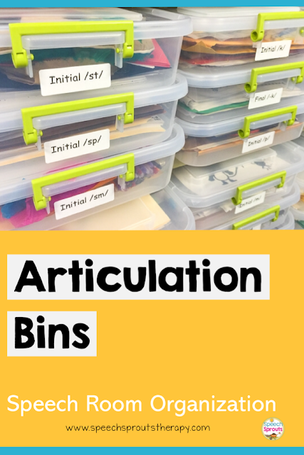 Organize your speech therapy articulation activities, cards and worksheets for each phoneme in a bin. Easy to grab and go! Read more speech room organization tips at www.speechsproutstherapy.com #speechsprouts #speechtherapy #organization #speechroom