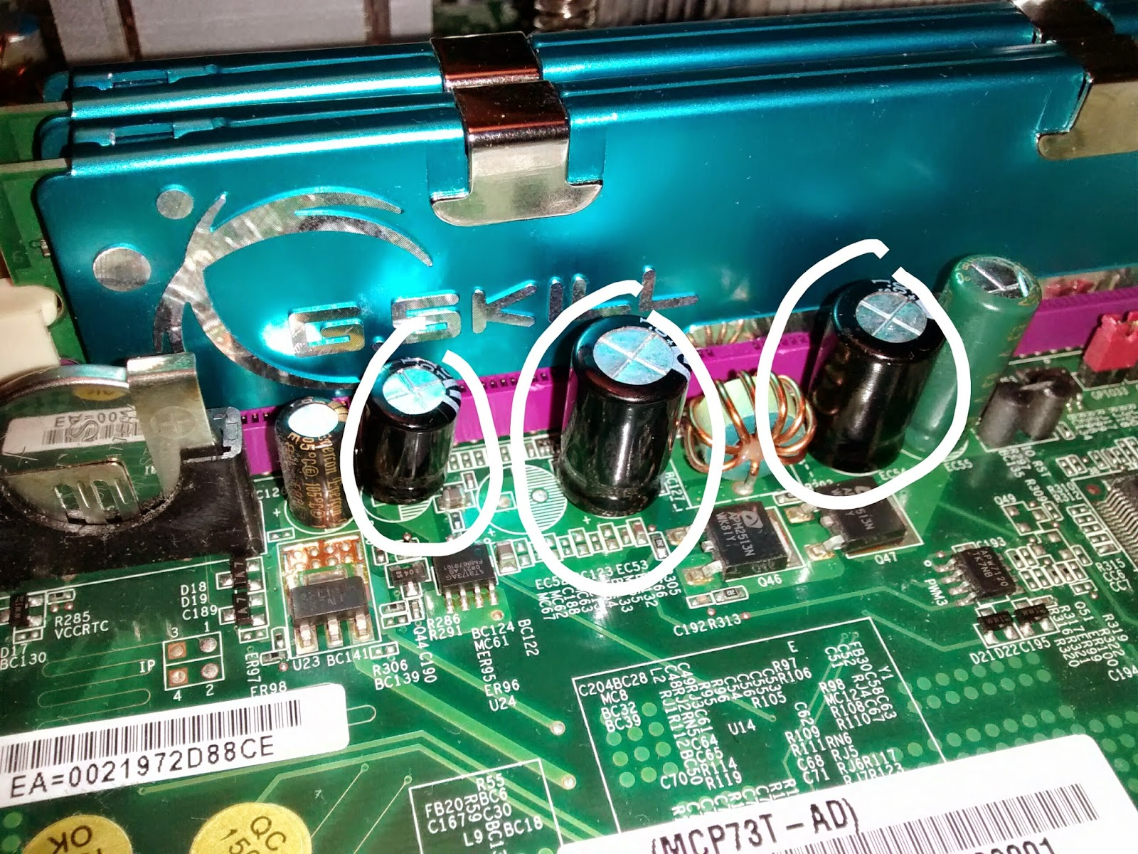 Replacing inflated capacitors on Motherboard