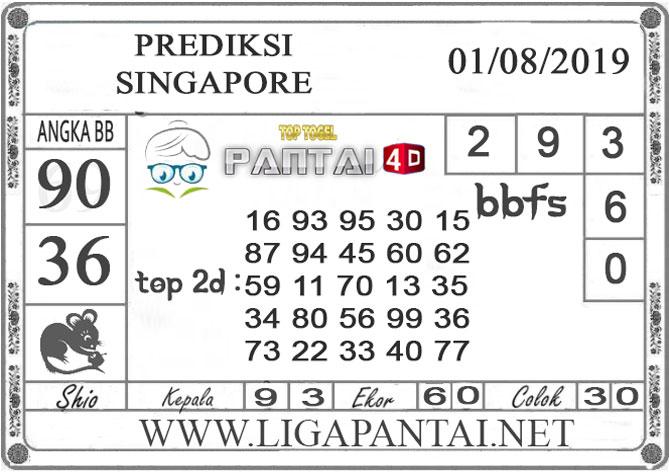 "PREDIKSI TOGEL ""SINGAPORE"" PANTAI4D 01 AGUSTUS 2019"