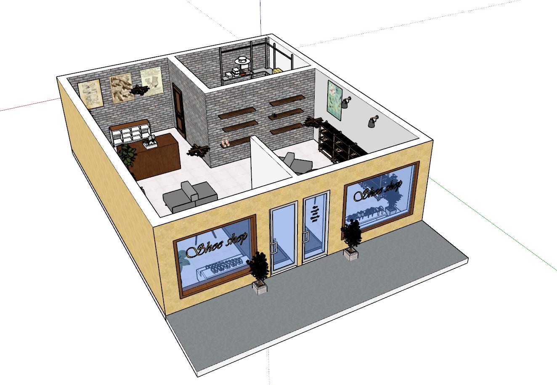 Sketchup 3D malli liiketilasta