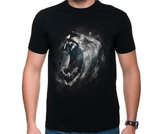 koszulka 3d czarna lew
