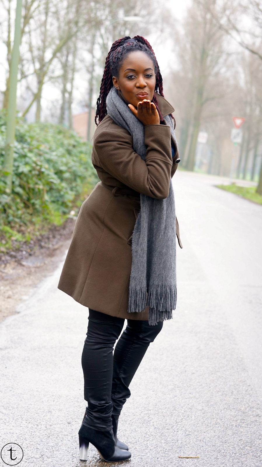 wearing dark green coat from miss selffridge and black leather pants from h&m
