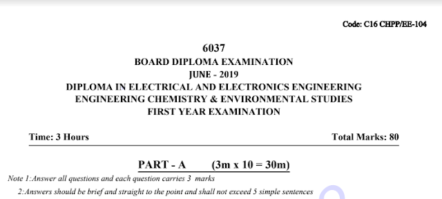 C16 Engineering Chemistry old model previous question papers eee june 2019 | sbtetonline