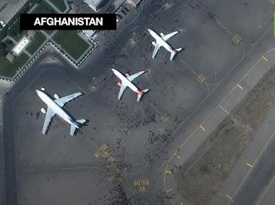 kabul airport chaos satellite image