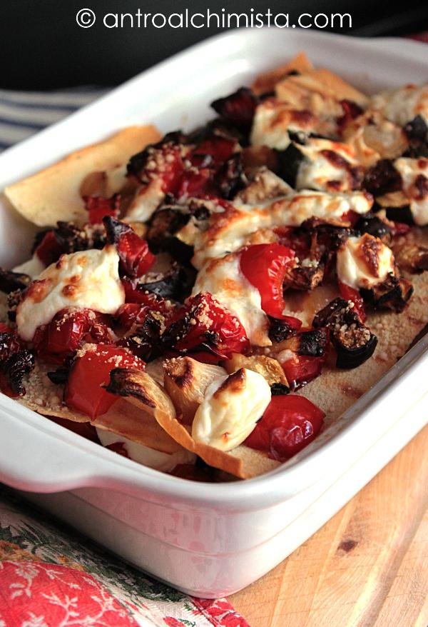 Lasagne di Pane Carasau con Verdure Grigliate e Stracchino