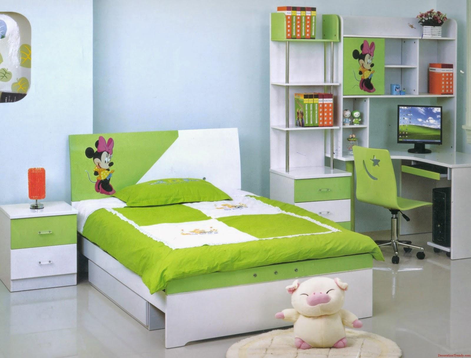 kamar tidur anak perempuan warna hijau | sobat interior rumah