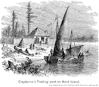 Image of Clayborne's Trading-post, from A Popular History of the United States (1876), Bryant & Gay, editors; pg. 500.