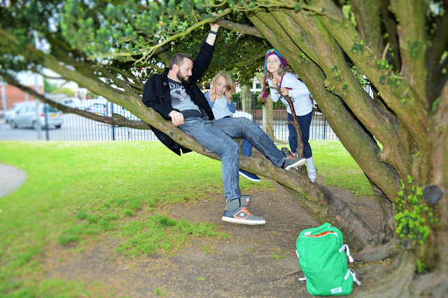 A Dad and two kids in a tree. Bag on floor.