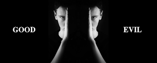 A greyscale photo of a man against a black background. Only half of his face can be seen, and he is holding up his hand along the line dividing the visible half of his face from the half shrouded in darkness. This image is mirrored so that the man appears to be split in half with some space between the two halves of his face. On the left side of this man is the word 'good,' and on the right side is the word 'evil.'