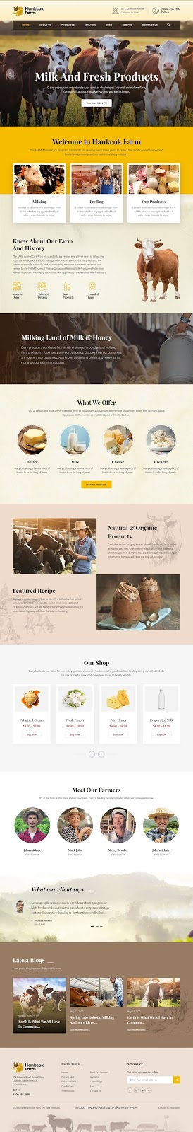 Dairy Farm and Milk Products HTML Template