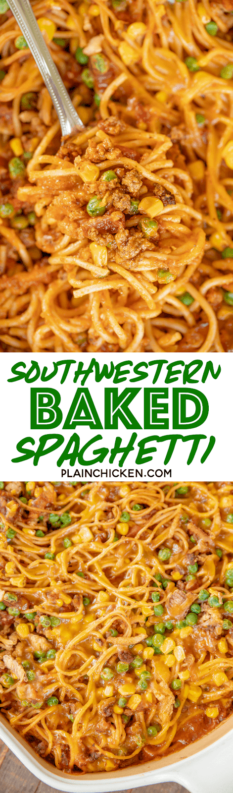 collage of two photos of baked southwestern spaghetti