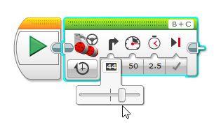 Mindstorms EV3 slider bar set to right for motors to make robot go right
