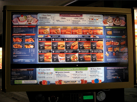 Menu at an American fast food restaurant