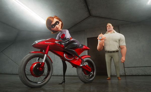 Elastigirl (voiced by Holly Hunter) got a brand new bike in INCREDIBLES 2 (2018)