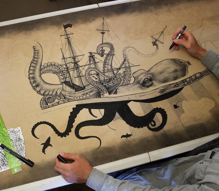 05-Giant-octopus-and-Sail-Ship-Surfboard-Jarryn-Dower-www-designstack-co