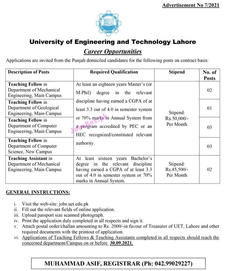 www.jobs.uet.edu.pk - UET University of Engineering and Technology Jobs 2021 in Pakistan