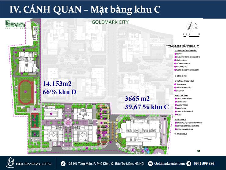 Mặt bằng tổng thể khu C( Block C)- Dự án Goldmark City 136 Hồ Tùng Mậu