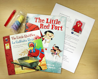 The Little Red Hen, the Little Red Fort, a Little Red Hen paper bag puppet craft, bubbles, and chalk from the Sioux City Public Reading summer quest kit