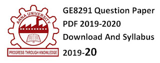 GE8291 Question Paper PDF 2019-2020 Download And Syllabus 2019-20