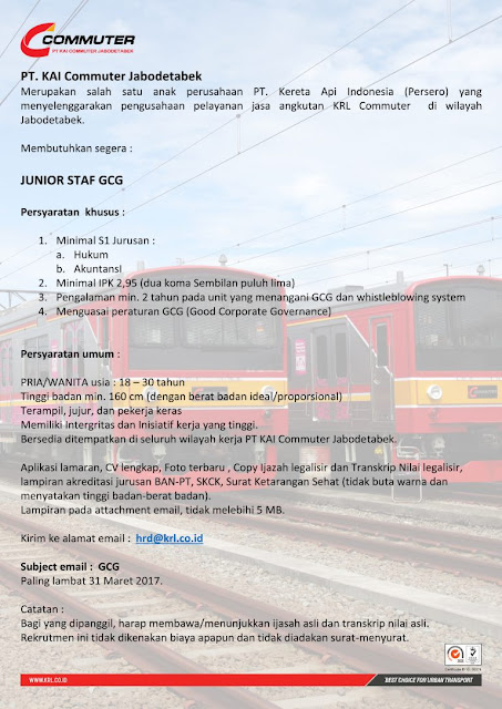 Lowongan Kerja Junior Staff PT KAI Commuter Jabodetabek Maret 2017