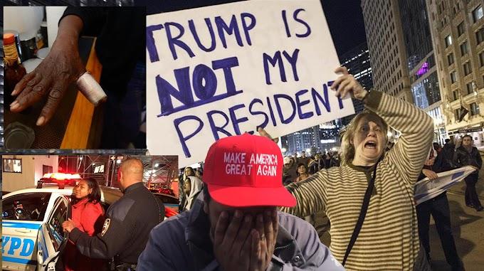 Indignación contra Trump sale de control y genera violencia en familias, trenes y protestas
