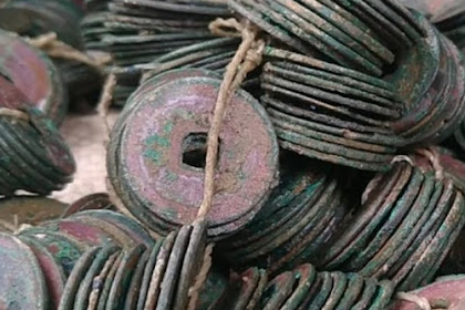 Ribuan keping uang kuno di temukan di sawah seperti ini wujud nya