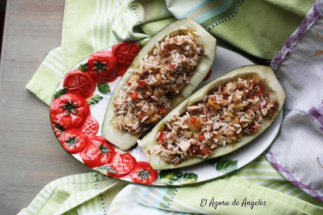 Berenjenas rellena de arroz  El Ágora de Ángeles