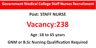 238 GNM or BSc Qualified Nurses Recruitment Government Medical College