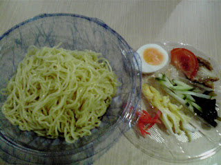 """Hiyashi Chuka"" is a cold Japanese dish with ""Ramen"" noodles and various toppings."
