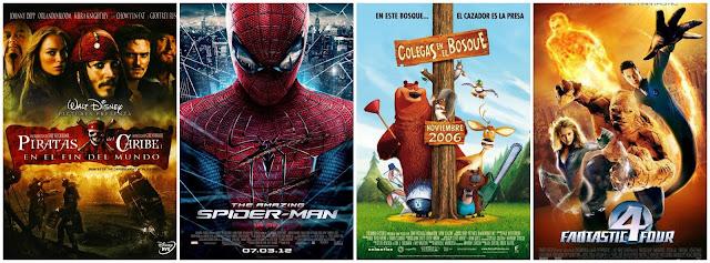 Piratas del Caribe en el fin del mundo, Spiderman 3, Colegas en el Bosque y Los 4 Fantásticos