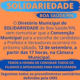 Convenção do Solidariedade será neste sábado