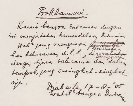 Teks Proklamasi Asli Tulisan Tangan Soekarno