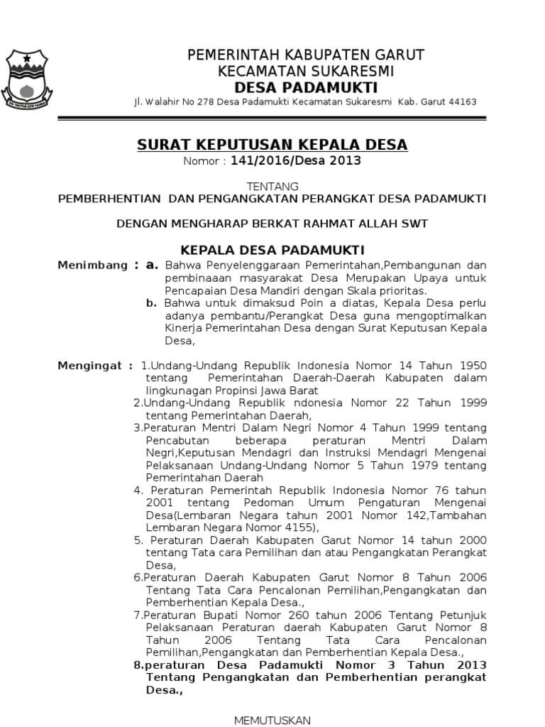 Contoh Surat Pemberhentian Sekretaris Desa