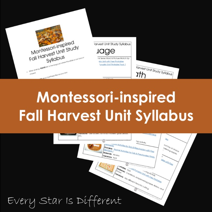 Montessori-inspired Fall Harvest Syllabus