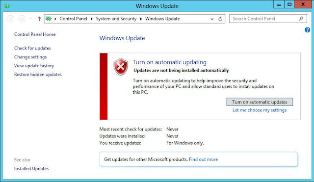 لم يتم تمكين Windows Update حاليًا